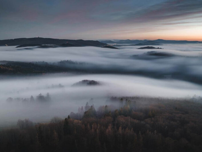 A fog wave in the Rhoen mountains, central Germany.