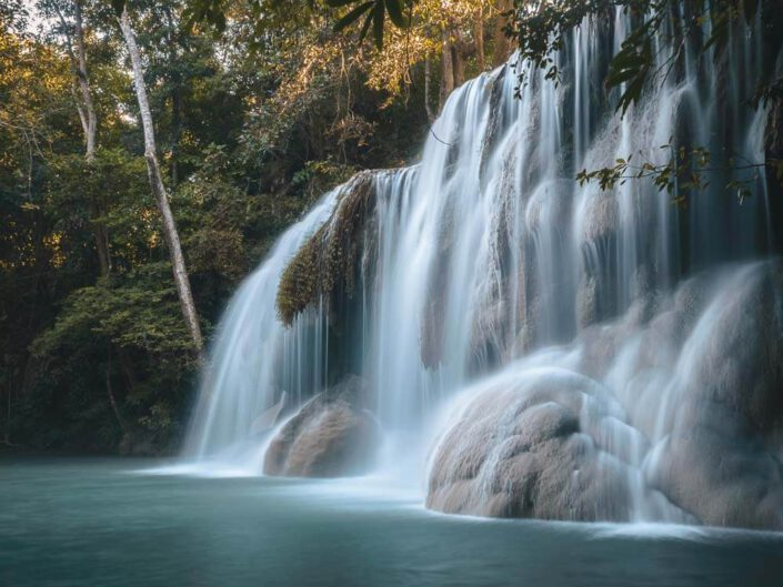 A smooth waterfall in Thailand, Erawan National Park.