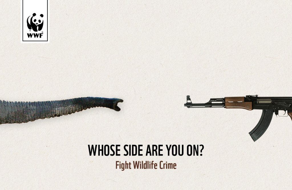 "The picture is an anti wildlife crime campaign poster by WWF which shows an elephant trunk on the left side and a gun on the right side. below them is written: ""Whose side are you on?"""