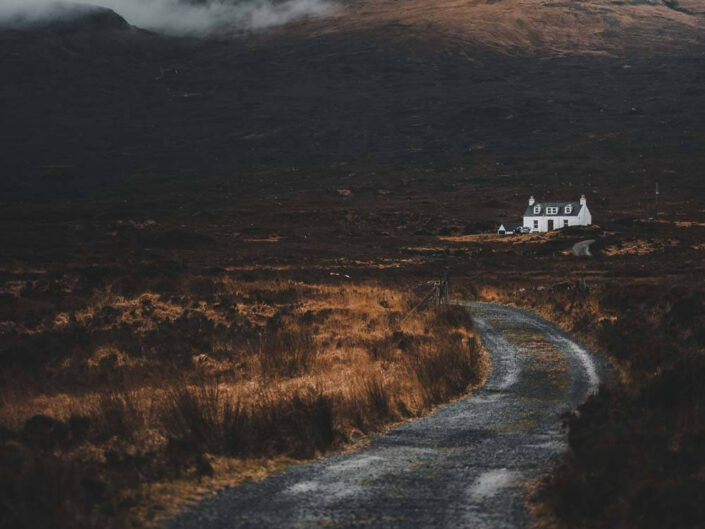 A lonely house in a moody surrounding, Isle of Skye Scotland.