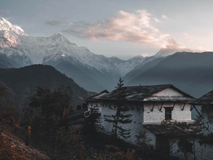 Machapuchare mountain at sunrise in the himalayas, Nepal.