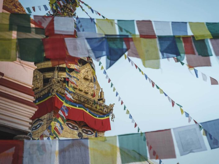 Temple with flags in Kathmandu, Nepal.