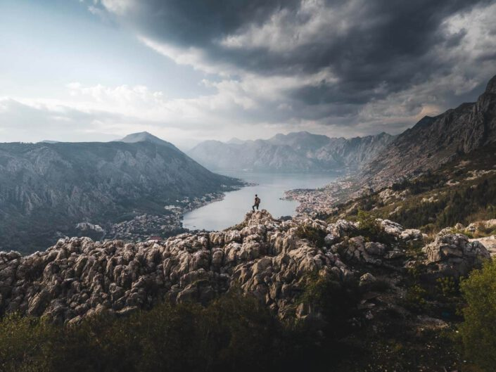View over the Bay of Kotor with impressive mountains in the back, Montenegro.