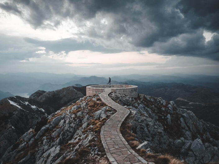 High up in the mountains of lovcen national park Montenegro.
