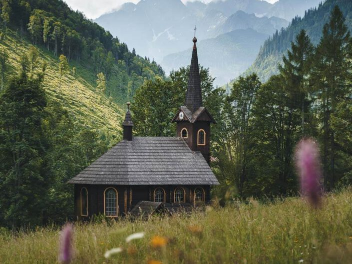 A church with the high tatras in the back, Slovakia.