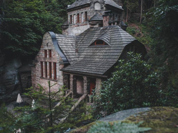 A creepy house in the forest of Czechia.
