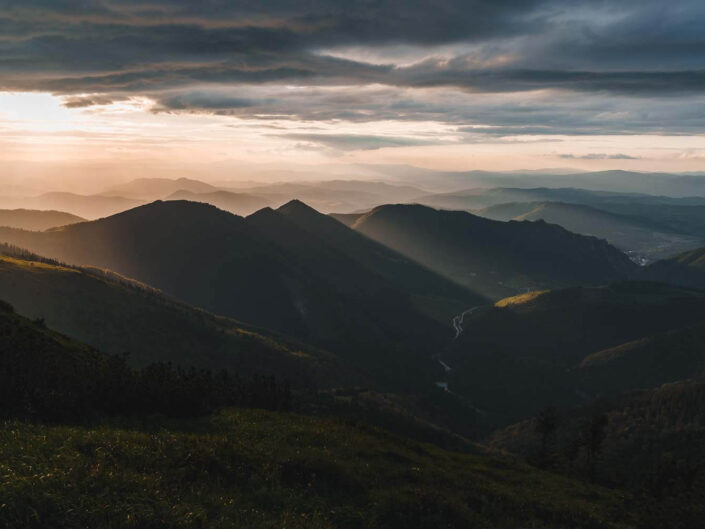 Sunset in the Mala Fatra mountains of Slovakia.