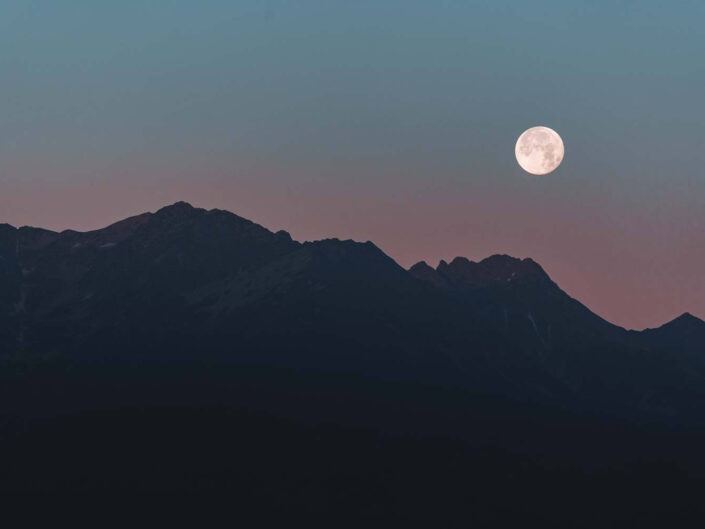 Moon in the high tatra mountains of Slovakia.
