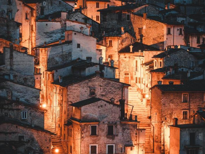 Scanno during blue hour. Abruzzo, Italy.