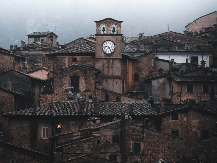 Scanno during a moody day with a clock tower, Abruzzo Italy.