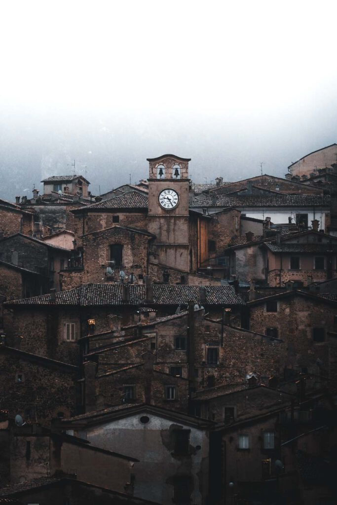 Scanno, a beautiful old and rustic city in the Abruzzo mountains on a rainy and foggy day.
